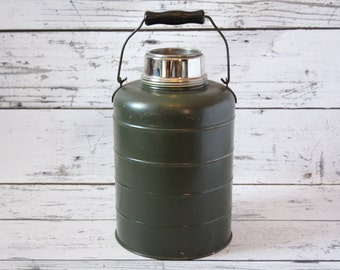 Vintage Stanley Green Thermal Jug Thermos Embossed Raised Lettering Graphics It Will Not Break Landers Frary & Clark New Britain Conn USA