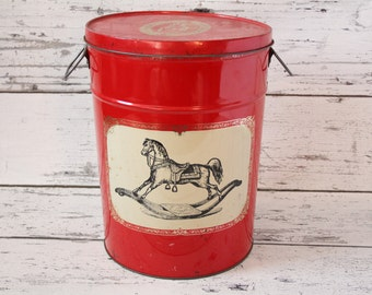 Vintage Metal Tin Pepperidge Farm Gift Catalog Company Black Rocking Horse on Red Beige Silver Can Handles Christmas Decor Bertels Can Co.