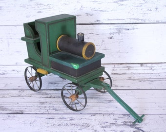 Vintage Solid Wood Train Toy Pull Car Classic Green Railroad Toys Locomotive Kids Toys Possibly Handmade Push Car