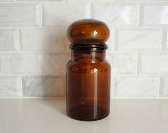 Vintage Apothecary Brown Glass Bottle Medium Size Glass Jar Container Made in Belgium Kitchen Bathroom Craft Storage Decorative