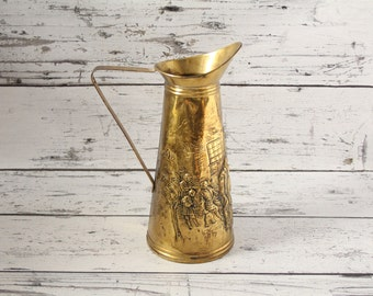 Vintage English Embossed Brass Beer or Drink Pitcher Pressed For Flowers Display Made in England Hammered Embossed Work Scene Spout Handle