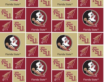Florida State University Fabric By The Yard | DIY Face Mask | Cotton | Gold | White | Burgundy | Fat Quarter | 1/2 Yard | 1 Yard | College