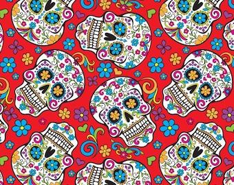 Red Folkloric Skulls Fabric By The Cut   DIY Face Mask   100% Cotton   Halloween Print   Fat Quarter   1/4 Yard   1/2 Yard   1 Yard