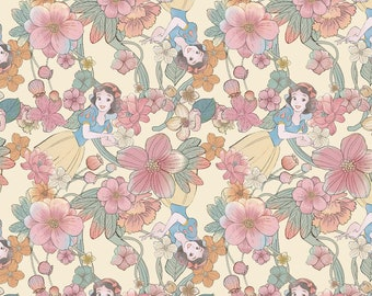 Disney's Snow White Floral Fabric By The Cut   DIY Face Mask   100% Cotton   Pink   Yellow   Fat Quarter   1/4 Yard   1/2 Yard   1 Yard