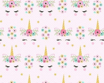 Unicorn Flowers Fabric By The Cut | DIY Face Mask | 100% Cotton | Yellow | Turquoise | Pink | Fat Quarter | 1/4 Yard | 1/2 Yard | 1 Yard