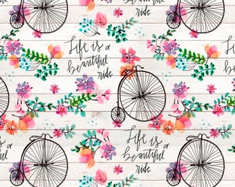 Beautiful Ride Fabric By The Cut | DIY Face Mask | 100% Cotton | Pink | Green | White | Fat Quarter | 1/2 Yard | | 1 Yard