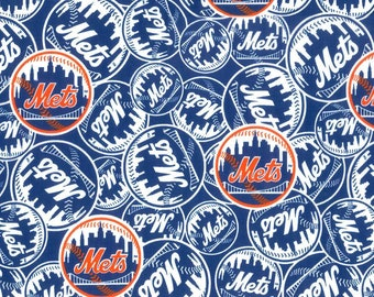 New York Mets Fabric By The Cut | Cotton DIY Face Mask | MLB Baseball | Blue | White | Orange | Fat Quarter | 1/4 | 1/2 Yard | 1 Yard
