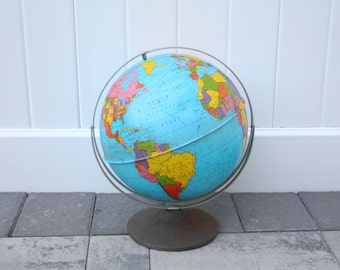 Vintage Ohio Art FULL METAL Globe World Map Bright Colored Dark Metal Base Silver Meridian Band Earth Spinning Double Hinged