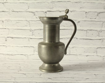 Vintage German Pewter Hoka Fein Zinn Tankard Beer Stein Mug Acorn Design on Lid Hinge One Liter Handle Dark Patina Bar Accessory Mancave Cup