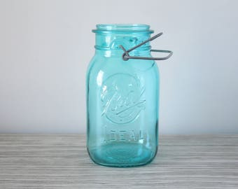 Vintage Ball Ideal Quart Aqua Blue Glass Mason Canister Container Embossed Wire Bail Top Kitchen Canning Jar 1976 Bicentennial Jar Eagle