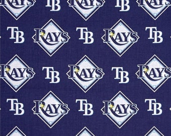 Tampa Bay Rays Fabric By The Cut | Cotton DIY Face Mask | MLB Baseball | Blue | White | Yellow | Fat Quarter | 1/2 Yard | 1 Yard | DIY Mask