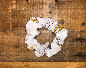 Winnie The Pooh Scrunchie | Large Size | Disney Print | 100% Cotton | Washable | Red | Yellow | White | Women's Hair Accessories | Wrist