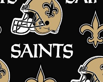 New Orleans Saints Fabric By The Cut | DIY Face Mask | 100% Cotton | NFL Football | Black | Fat Quarter | 1/4 Yard | 1/2 Yard | 1 Yard