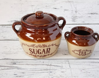 Vintage Sugar & Tea Glazed Pottery Set of 2 Storage Canisters Brown Beige Lidded Painted Kitchen Organization Jar Made In The USA