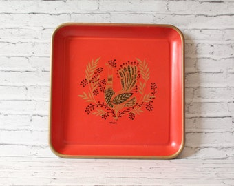 Vintage Maxey Square Metal Serving Tray Peacock & Foliage Design Red Black Gold Graphics 1950s Folk Art Vintage Kitchen Bar Farmhouse Chic