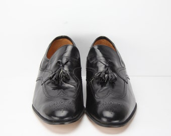 NEW Vintage Bostonian Black Leather Wingtip Men's Shoes | Oxfords | Made in Italy | Size 12
