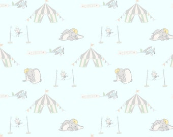 Dumbo Flying Circus Fabric By The Cut | DIY Face Mask | 100% Cotton | Grey | Pink | Blue | Fat Quarter | 1/4 Yard | 1/2 Yard | 1 Yard
