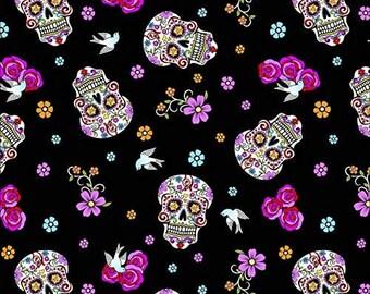 Day of the Dead Glitter Skulls Fabric | 100% Cotton | DIY Face Mask | Halloween Print | Folkloric | Black | Pink | Birds | Flowers | Cut