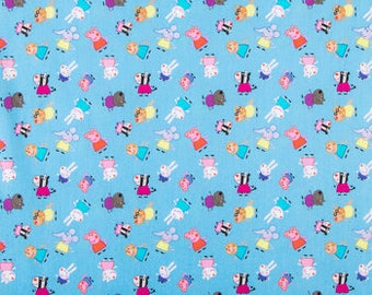 Blue Peppa Pig Fabric By The Cut | DIY Face Mask | 100% Cotton | Pink | Purple | Red | Yellow | White | Fat Quarter | 1/4 Yard | 1 Yard