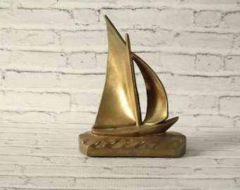 Vintage Brass Sailboat With Patina Mid-Century Figurine Decorative Statue Heavy Use As Bookend Home Decor Room Decoration Nautical Boat