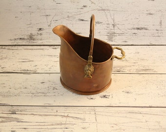 Vintage Solid Copper Fireplace Coal Bucket Scuttle Holder Brass Lion's Head Handle Fire Accessories Basket Patina Heavy