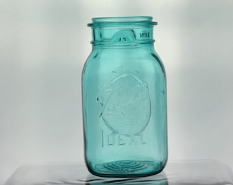Vintage Ball Ideal Quart Aqua Blue Glass Mason Canister Container Embossed Top Kitchen Canning Jar 1976 Bicentennial Jar Eagle Flower Vase