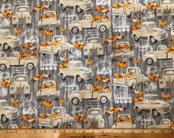 Fall Pickup Truck Pumpkins Fabric By The Cut | DIY Face Mask | 100% Cotton | Farm Fresh Print | Fat Quarter | 1/4 Yard | 1/2 Yard | 1 Yard