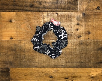 Yankees 1903 Scrunchie | Large Size | Baseball Print | 100% Cotton | Washable | Red | Blue | White | Women's Hair Accessories | Wrist Candy