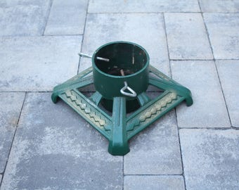 Vintage German Cast Iron Christmas Tree Stand Green Metal Gold Accents Made in Germany Holiday Decor Mid Century Screw In Bottom