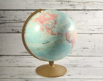 "Vintage Replogle Globe World Nation Light Blue Antique Colored Brass Metal Base Earth Spinning 12"" Inch Diameter World Map Topographical"