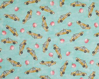 New York City Taxi Fabric By The Cut | Cotton DIY Face Mask | NYC Empire State | Green | Yellow Cab | Fat Quarter | 1/4 1/2 Yard | 1 Yard