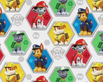 Nickelodeon Paw Patrol Fabric By The Yard | DIY Face Mask | 100% Cotton | Blue | White | Red | Blue | Yellow Fat Quarter | 1/4 Yard | 1 Yard