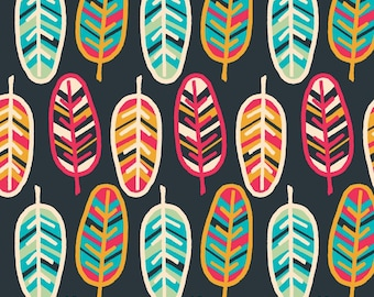 Emma & Mila Feathers Fabric By The Cut | DIY Face Mask | 100% Cotton | Blue | Green | Black | Yellow | Red | Fat Quarter | 1/2 Yard | 1 Yard