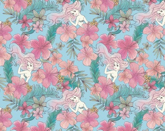 Disney's Ariel Floral Fabric By The Cut | DIY Face Mask | 100% Cotton | Green | Pink | Blue | Fat Quarter | 1/4 Yard | 1/2 Yard | 1 Yard