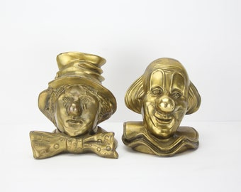 Vintage Pair of Brass Clown Bookends | Made by PM Craftsman | Aged Patina | Book Decor | Home Library | Aged Brass | Vintage Home Decor