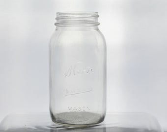 Vintage Kerr Clear Glass Quart Mason Jar Container Embossed Kitchen Pantry Regular Mouth Flower Vase Wedding Bridal Baby Shower Floral Decor