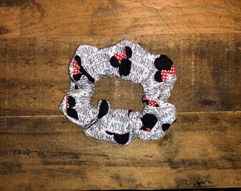 Minnie Mouse Scrunchie | Large Size | Disney Print | 100% Cotton | Washable | Red | Black | White | Women's Hair Accessories | Wrist Candy