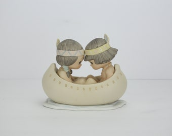 Vintage Precious Moments Figurine | Many Moons In Same Canoe, Blessum You | 1988 | Enesco