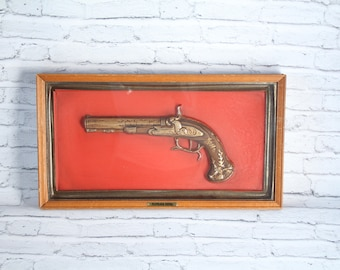 Vintage Flintlock Pistol Shadowbox Mounted Brown Wood Frame Collectible Wall Sign Red & Gold Turner Wall Accessory Made in the USA