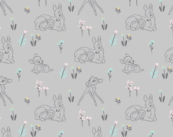 Bambi Fabric By The Yard | DIY Face Mask | 100% Cotton | Grey | Pink | Blue | Yellow | Fat Quarter | 1/4 Yard | 1/2 Yard | 1 Yard | Mommy