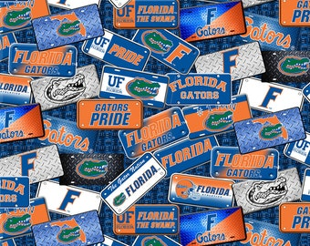 Florida Gators Fabric By The Yard | DIY Face Mask | Cotton | NFL Football | Blue | White | Green | Orange | Fat Quarter | 1/2 Yard | 1 Yard