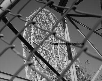 Brooklyn Wonder Wheel Photography Coney Island Beach Ferris Wheel Photo Chainlink Fence Black & White Images New York NYC Photograph