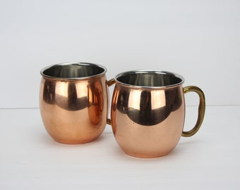Vintage Pair Of Solid Copper Moscow Mule Cups | Brass Handle
