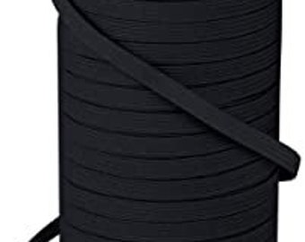 "1/4"" Black Elastic By The Yard 