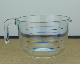 Rare Vintage Pyrex 8 Cup Clear Measuring Bowl With Blue Lettering Model M-640 Corning NY USA 2 Liter Capacity Extra Large Mixing Bowl