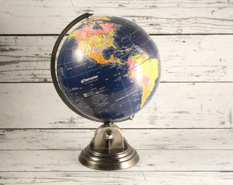 "Vintage Globemaster Deep Blue Globe World Map Antique Pewter Color Metal Base Earth Spinning 12"" Inch Diameter World Classic Topographical"