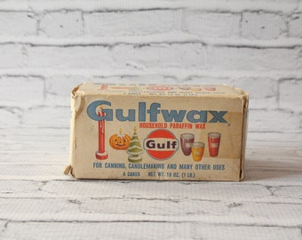 Vintage Gulfwax Paraffin Wax 1 Pound Vintage Box Gulf Oil Advertising Canning Candles Candlemaking Craft Supplies Decorative Home Room Decor