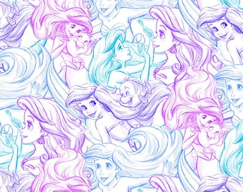 Disney's Ariel Sketch Fabric By The Cut | DIY Face Mask | 100% Cotton | Purple | Pink | Blue | Fat Quarter | 1/4 Yard | 1/2 Yard | 1 Yard