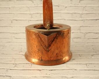 Vintage Bodum Copper Tea Kettle Wood Handle Tin Lined Water Design C Jorgensen Teapot Stovetop Tea Pot Farmhouse Planter Antique Kitchen