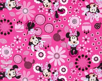 Modern Minnie Mouse Fabric By The Cut | DIY Face Mask | 100% Cotton | Pink | White | Black | Fat Quarter | 1/4 Yard | 1 Yard | Bows | Disney